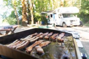 Flat Top Grill Outside RV