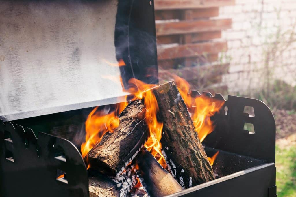 Burning Wood In Barbecue