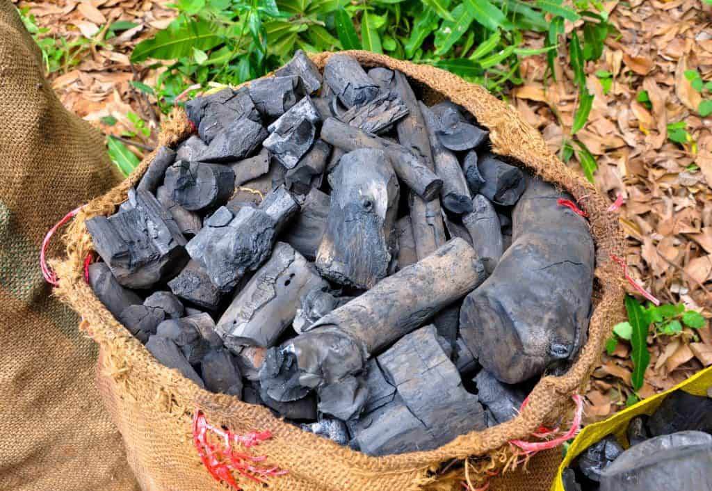 charcoal in sacks