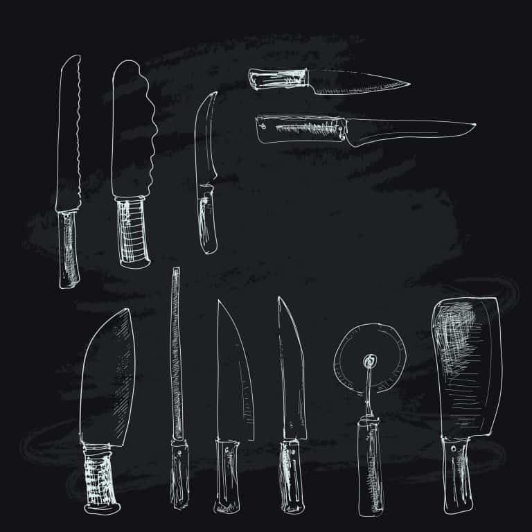 Collection of kitchen knives