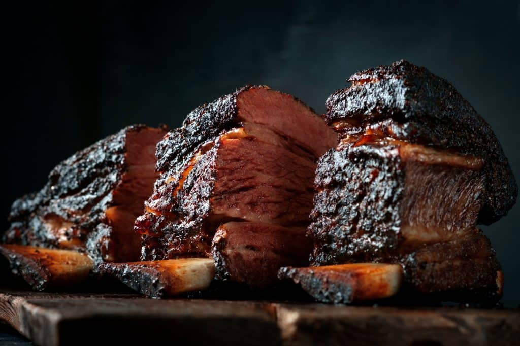 Smoked beef brisket ribs